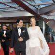 Adriana Karembeu et son compagnon Andre (Aram) Ohanian participent à la cérémonie des remises de récompenses du 53e Festival de Télévision de Monte Carlo au Grimaldi Forum le 13 juin 2013.