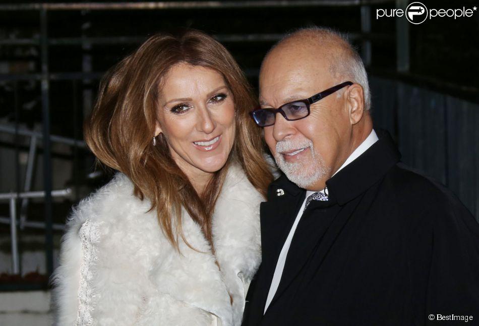 """Céline Dion et son mari René Angélil arrivent à l'enregistrement de l'émission """"Vivement dimanche"""" au studio Gabriel à Paris, le 13 novembre 2013."""