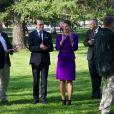 La princesse Victoria et le prince Daniel de Suède visitant le Parc des sculptures à Umea le 11 septembre 2014