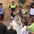 Elisabetta Canalis lors de son mariage avec Brian Perri à Sassari, Sardaigne, le 14 septembre 2014.