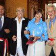 Exclusif - Macha Méril et Michel Legrand entourés du maire de Monaco Georges Marsan et son adjoint Henri Donia - Le 16 septembre 2014.