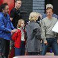 """Tim Burton, Christoph Waltz, Amy Adams sur le tournage du film """"Big Eyes"""" à Vancouver, le 19 aout 2013."""