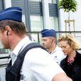 Delphine Boël, fille illégitime supposée du roi Albert II de Belgique, au tribunal de première instance de Bruxelles le 2 octobre 2014 pour l'audience au cours de laquelle le ministère public a rendu son avis concernant sa demande de reconnaissance en paternité visant l'ancien souverain.