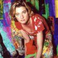 Delphine Boël, fille illégitime du roi Albert II de Belgique, en déembre 2001 à Bruxelles, préparant une expo à la galerie Hyper Space.