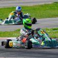 Mick Junior Schumacher (312), fils de Michael, lors des WSK Super Master Serie à Muro Leccese sur le circuit de La Conca en Italie le 27 avril 2014