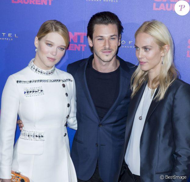 """Léa Seydoux, Gaspard Ulliel et Aymeline Valade - Avant-première du film """"Saint Laurent"""" au Centre Georges Pompidou à Paris le 23 septembre 2014."""
