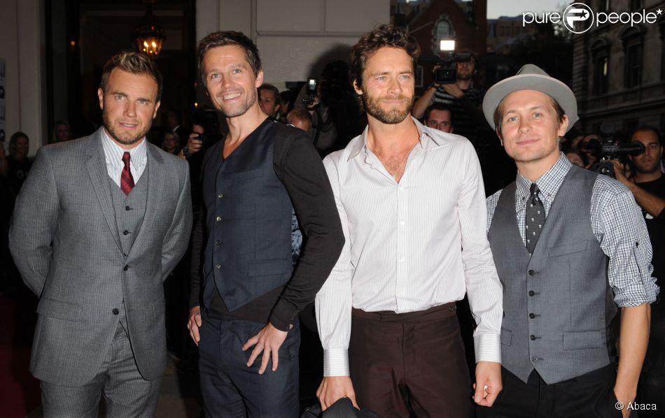 Gary Barlow, Jason Orange, Howard Donald et Mark Owen de Take That à Londres le 8 spetembre 2009.