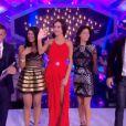 Les finalistes Jessica, Leila, Vivian et Nathalie arrivent sur le plateau dans la finale de Secret Story 8, le vendredi 26 septembre 2014, sur TF1
