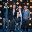 L'équipe du film Babysitting : Tarek Boudali, Philippe Lacheau, Enzo Tomasini, Nicolas Benamou et Julien Arruti sur le bateau de la Villa Schweppes à Cannes, le 17 mai 2014.