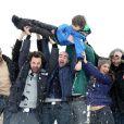Tarek Boudali, Julien Arruti, Enzo Tomasini, David Marsais, Philippe Lacheau, Alice David, Vincent Desagnat au 17e Festival International du Film de Comedie de l'Alpe d'Huez, le 17 Janvier 2014.