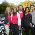 Michèle Laroque, Lisa Azuelos, Lionel Abelanski, Virginie Guilhaume et Charles Berling au Triathlon des Roses dans le Domaine National de Saint-Cloud le 4 octobre 2014.