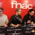 Exclusif - Gustav Schäfer, Tom et Bill Kaulitz, Georg Listing - Le groupe Tokio Hotel en dédicaces à la Fnac Saint-Lazare à Paris, le 9 octobre 2014