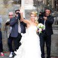 Michelle Hunziker lors de son mariage avec Tomaso Trussardi, le 10 octobre 2014 au Palazzo della Ragione à Bergame