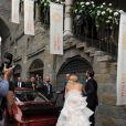 Tomaso Trussardi et Michelle Hunziker lors de leur mariage au Palazzo della Ragione à Bergame, le 10 octobre 2014