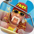"""Le mythique catcheur Hulk Hogan dans le jeu """"Crazy Taxi City Rush"""" - octobre 2014"""
