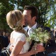 Mariage civil de la belle Sandrine Corman et Michel Bouhoulle (professeur de tennis et consultant sur la RTBF, chaîne de télévision belge) à la mairie de Lasne, près de Bruxelles en Belgique, le 12 septembre 2014.