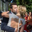 Mariage civil de Sandrine Corman et Michel Bouhoulle (professeur de tennis et consultant sur la RTBF, chaîne de télévision belge) à la mairie de Lasne, près de Bruxelles en Belgique, le 12 septembre 2014.