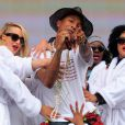 Pharrell Williams sur scène lors du concer BBC Radio 1 Big Weekend à Glasgow. Le 24 mai 2014.