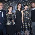 Jean-Charles de Castelbajac, Danièle Ricard, Lorraine Ricard Scholler, Alice Ricard et Guilhem de Castelbajac assistent au Bal Jaune à l'hôtel Salomon de Rothschild à Paris, le vendredi 24 octobre 2014.