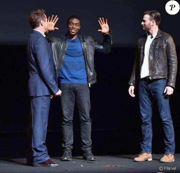 Robert Downey Jr., Chadwick Boseman et Chris Evans - L'événement Marvel au El Capitan d'Hollywood le 28 octobre 2014