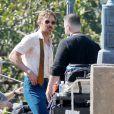 """Ryan Gosling, jeune papa au style seventies, sur le tournage du film """"The Nice Guys"""" à Atlanta, le 27 octobre 2014."""