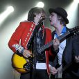 Pete Doherty et Carl Barât (The Libertines) en concert à Londres, le 26 septembre 2014.