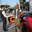 Exclusif - Ray J en Ferrari à Beverly Hills, le 9 août 2014.