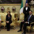 Le roi Felipe VI et la reine Letizia d'Espagne ont été reçus au palais Montecitorio (siège de la Chambre des députés) par Laura Boldrini, le 19 novembre 2014, lors de leur visite officielle inaugurale.