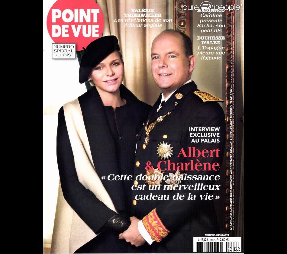 Le prince Albert II et la princesse Charlene de Monaco en couverture de  Point de Vue  le 26 novembre 2014. Ils y évoquent leurs jumeaux, dont la naissance est attendue mi-décembre.