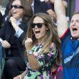 Kim Sears exhulte après l'or olympique de son homme Andy Murray lors des JO de Londres, le 5 août 2012