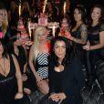 Kelly (Les Ch'tis/Les Anges 6 et actrice pornographique), Tabatha Cash (de son vrai nom Céline Barbe, directrice de la publication de Hot Vidéo) et Nikita Bellucci - Soirée pour les 25 ans de Hot Vidéo au Titty Twister à Paris, le 27 novembre 2014.27/11/2014 - Paris