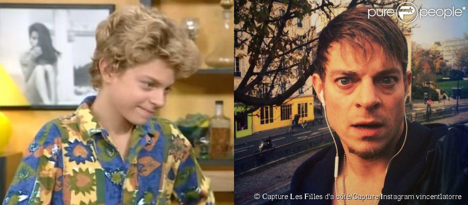 Vincent La Torre dans  Les Filles d'à côté  en 1993 et en 2014 sur son Instagram.