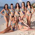 Miss Tahiti, Miss Saint-Martin, Miss Nouvelle Calédonie, Miss Côte d'Azur, Miss Guyane, Miss Mayotte et Miss Lorraine prennent la pose en bikini pour la photo officielle, à Punta Cana, en République Dominicaine, avant le grand jour, le 6 décembre prochain.