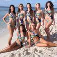 Miss Midi-Pyrénnées, Miss Alsace, Miss Rhône-Alpes, Miss Limousin, Miss Poitou-Charentes, Miss Guadeloupe et Miss Corse prennent la pose en bikini pour la photo officielle, à Punta Cana, en République Dominicaine, avant le grand jour, le 6 décembre prochain.