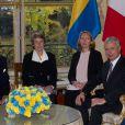 Le président de l'Assemblée Nationale Claude Bartolone reçoit le roi Carl XVI Gustaf de Suède le 3 décembre 2014 à Paris