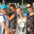 Martina Navratilova et sa fiancée Julia Lemigova accompagnée de ses deux filles, Victoria et Emma, lors du 25e Chris Evert / Raymond James Pro-Celebrity Tennis Classic au Delray Beach Tennis Center de Delray Beach, le 23 novembre 2014