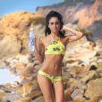 La DJ et mannequin Brina Chantal en plein shooting pour 138 Water sur une plage de Malibu. Le 12 décembre 2014.