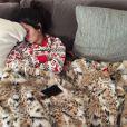 Réveil difficile pour Kendall Jenner, au lendemain du réveillon de Noël de la famille Kardashian. Los Angeles, le 24 décembre 2014.