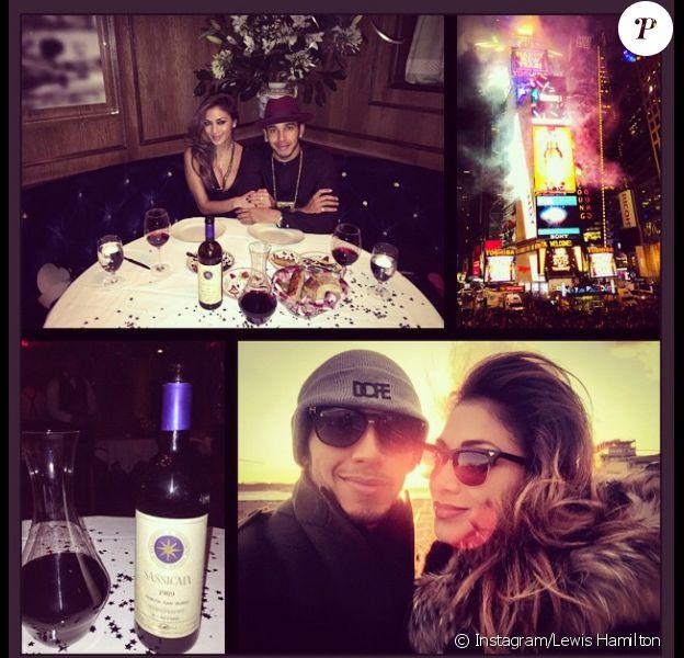 Lewis Hamilton et Nicoles Scherzinger lors de leur réveillon du nouvel an à New York - photo publiée sur le compte Instagram de Lewis Hamilton le 2 janvier 2015