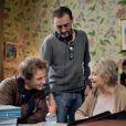 """Annie Cordy, Mathieu Spinosi et Jean-Paul Rouve sur le tournage du film """"Les souvenirs"""" en salles le 14 janvier 2015."""