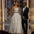 La cérémonie des Golden Globes 2015 : Selma Hayek et Kevin Hart