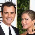 Jennifer Aniston et son fiancé Justin Theroux aux Golden Globe Awards à Los Angeles, le 11 janvier 2015.