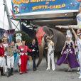La princesse Stéphanie de Monaco a, comme chaque année, posé avant l'ouverture du 39e Festival International du Cirque de Monte-Carlo, entourée d'artistes et de son animal préféré, l'éléphant, à Monaco le 13 janvier 2015.