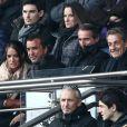 """Arnaud Lagardère et sa femme Jade Foret près de Nicolas Sarkozy - au match de de la ligue 1 entre le PSG et Evian au Parc des Princes à Paris le 18 janvier 2014. Le Psg à remporté le match sur le score de 4 buts à 2. Il y a eu une minute d'applaudissements pour les attentats de la semaine dernière """"Ici, c'est Charlie"""""""