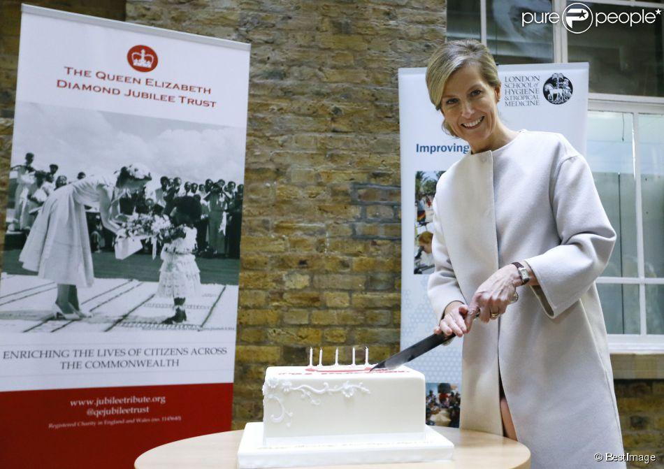 La comtesse Sophie de Wessex visitait, le jour de ses 50 ans le 20 janvier 2015, la  London School of Hygiene and Tropical Medicine avec son mari le  prince Edward.