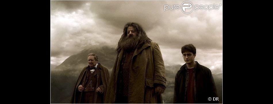 Robbie Coltrane (au centre) dans Harry Potter et le Prince de sang mêlé