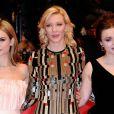 Lily James, Cate Blanchett et Helena Bonham Carter lors de la première de Cendrillon à la Berlinale, le 13 février 2015.