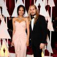Zoe Saldana et son mari Marco Perego à la 87e cérémonie des Oscars à Hollywood, le 22 février 2015.