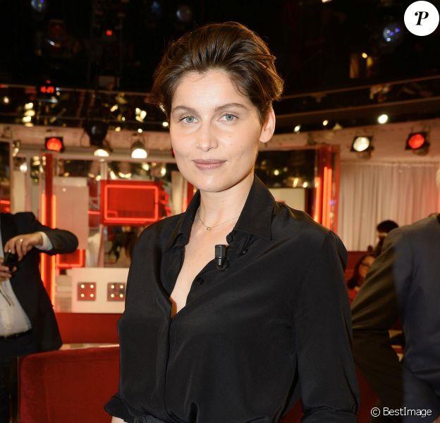 """Laetitia Casta - Enregistrement de l'émission """"Vivement Dimanche"""" à Paris le 25 février 2015. L'émission sera diffusée le 3 mars."""