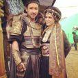 Lorie sur le tournage de Dragon Blade avec John Cusak. Photo publiée le 19 février 2014